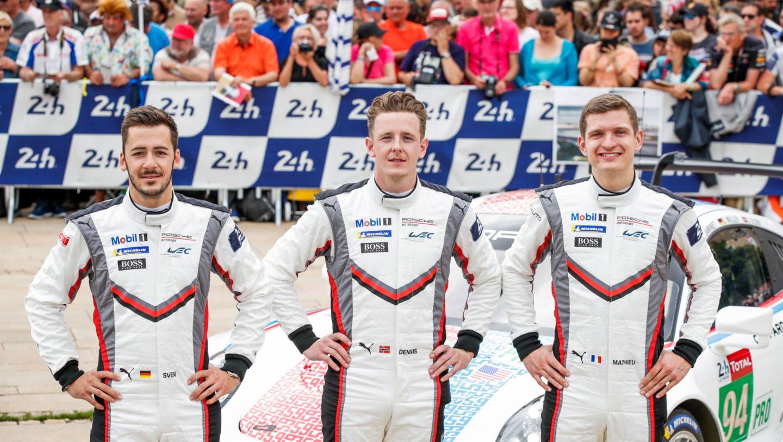 Sven Müller (D), Dennis Olsen (N), Mathieu Jaminet (F), l-r, 911 RSR (94), Technische Abnahme, FIA WEC, Le Mans, 2019, Porsche AG