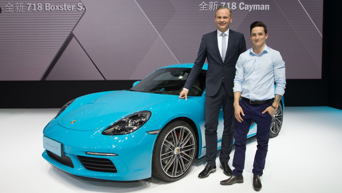 Oliver Blume, Chairman of the Executive Board Porsche AG and Marcel Nguyen (l-r), Porsche Brand Ambassador, 718 Cayman S, Auto China, 14th Beijing International Automobile Exhibition, 2016, Porsche AG