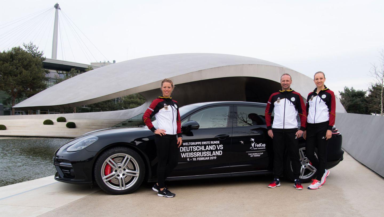Laura Siegemund, Jens Gerlach, Mona Barthel, Porsche Team Deutschland, Autostadt Wolfsburg, 2019, Porsche AG