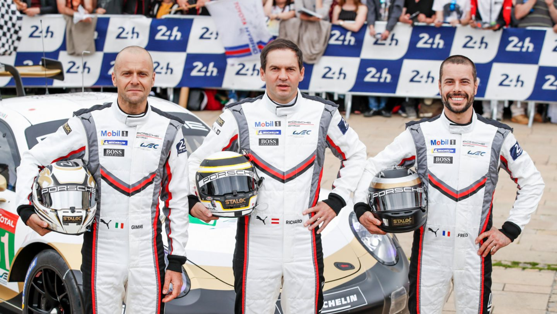 Gianmaria Bruni (I), Richard Lietz (A), Frederic Makowiecki (F), l-r, 911 RSR (91), scrutineering, FIA WEC, Le Mans, 2019, Porsche AG