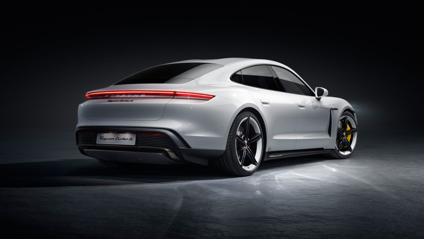 world premiere of the porsche taycan sports car