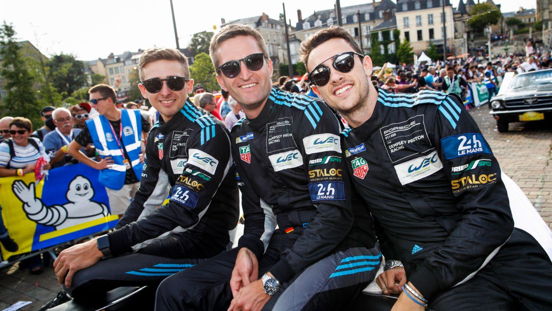 Dempsey Proton Racing (77), Matt Campbell (AUS), Christian Ried (D), Julien Andlauer (F), l-r, Fahrerparade, FIA WEC, Le Mans, 2019, Porsche AG