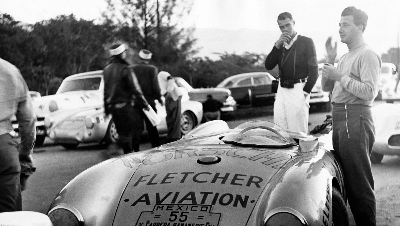 Hans Herrmann (r.), Porsche 550 Spyder, Carrera Panamericana, 1954, Porsche AG