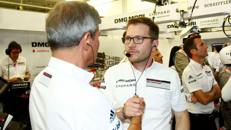 Fritz Enzinger, Head of LMP1, Andreas Seidel, Team Principal, l-r, qualifying, WEC, Bahrain, 2016, Porsche AG