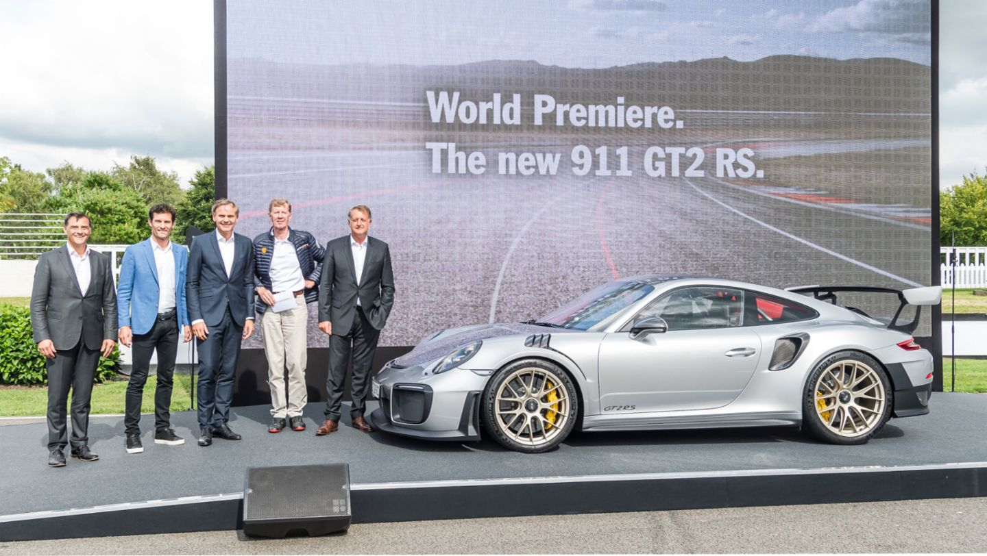 Michael Steiner, Mark Webber, Oliver Blume, Walter Röhrl, Detlev von Platen, l-r, 911 GT2 RS, Festival of Speed, Goodwood, Great Britain, 2017, Porsche AG