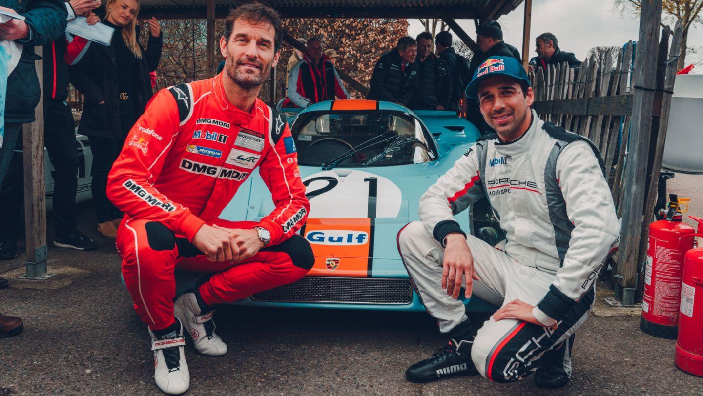 Mark Webber, Neel Jani, l-r, 917 KH, 77th Goodwood Members Meeting, Great Britain, 2019, Porsche AG