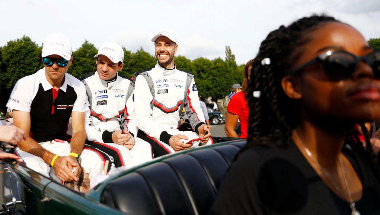 Porsche GT Team (91), Gianmaria Bruni (I), Richard Lietz (A), Frederic Makowiecki (F), l-r, Drivers' parade, FIA WEC, Le Mans, 2019, Porsche AG