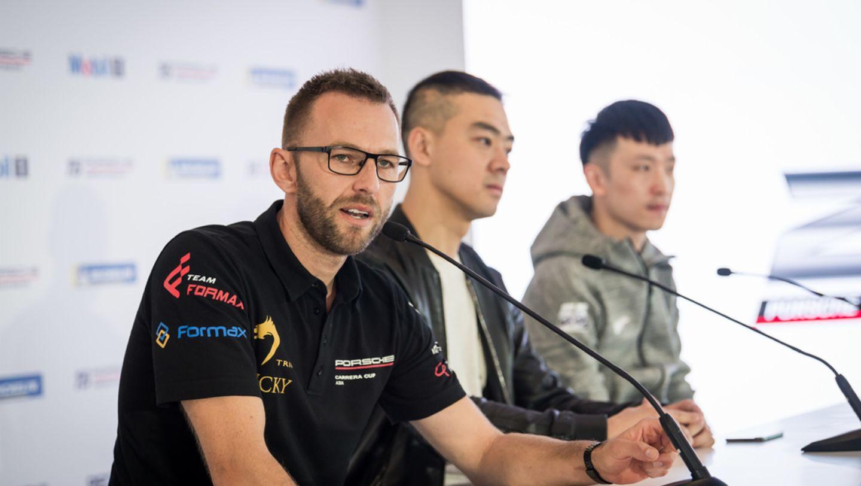 范德瑞、包金龙、李超三位车手在2018赛季亚洲保时捷卡雷拉杯新闻发布会