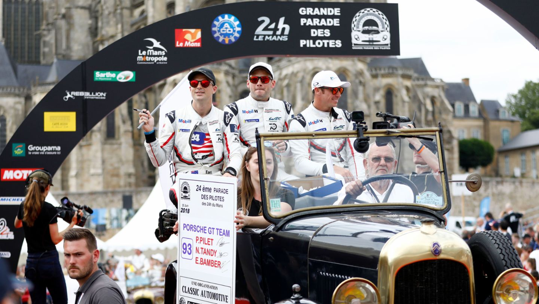 Earl Bamber, Nick Tandy, Patrick Pilet, l-r, drivers parade, Le Mans, 2018, Porsche AG
