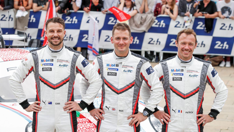 Earl Bamber (NZ), Nick Tandy (GB), Patrick Pilet (F), l-r, 911 RSR (93), scrutineering, FIA WEC, Le Mans, 2019, Porsche AG