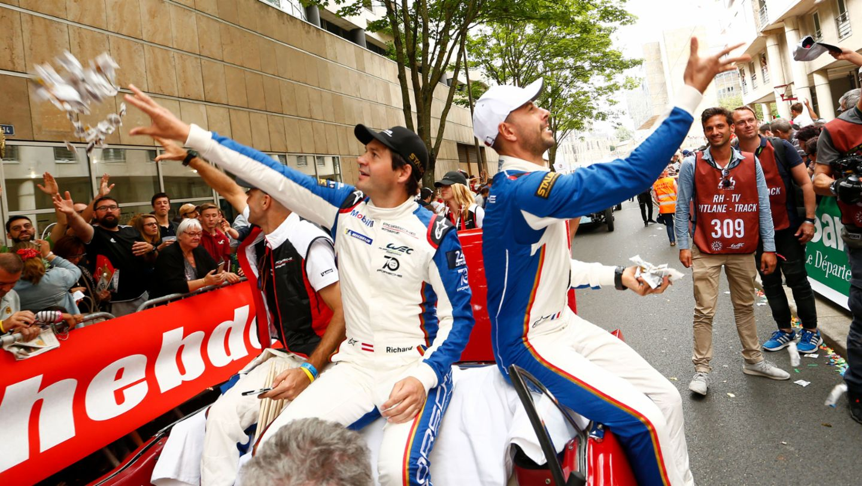 Richard Lietz, Frederic Makowiecki, l-r, drivers parade, Le Mans, 2018, Porsche AG