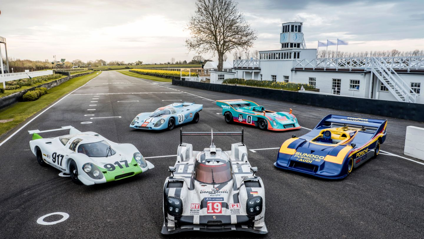 Porsche 917, Porsche 919 Hybrid (middle), Goodwood Members Meeting, 2019, Porsche AG