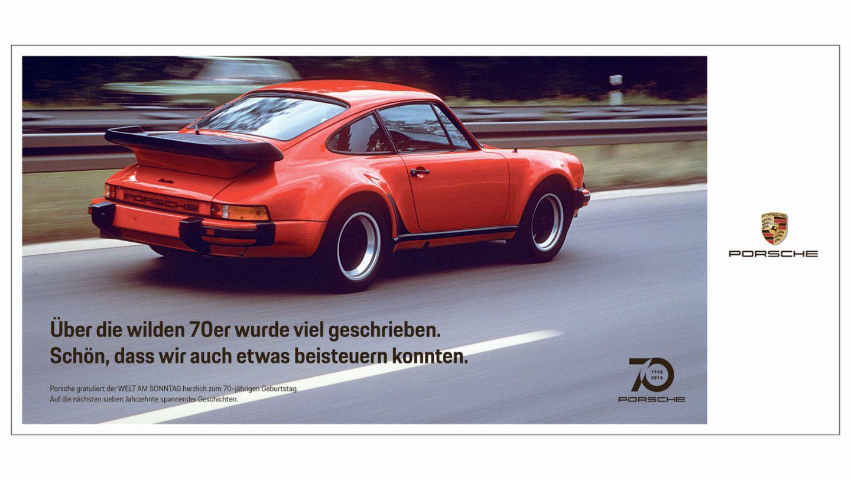 Printkampagne: Porsche und Welt am Sonntag in Aktion vereint, 2018, Porsche AG