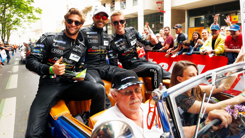 Giorgio Roda, Khaled Al Qubaisi, Matteo Cairoli, l-r, drivers parade, Le Mans, 2018, Porsche AG
