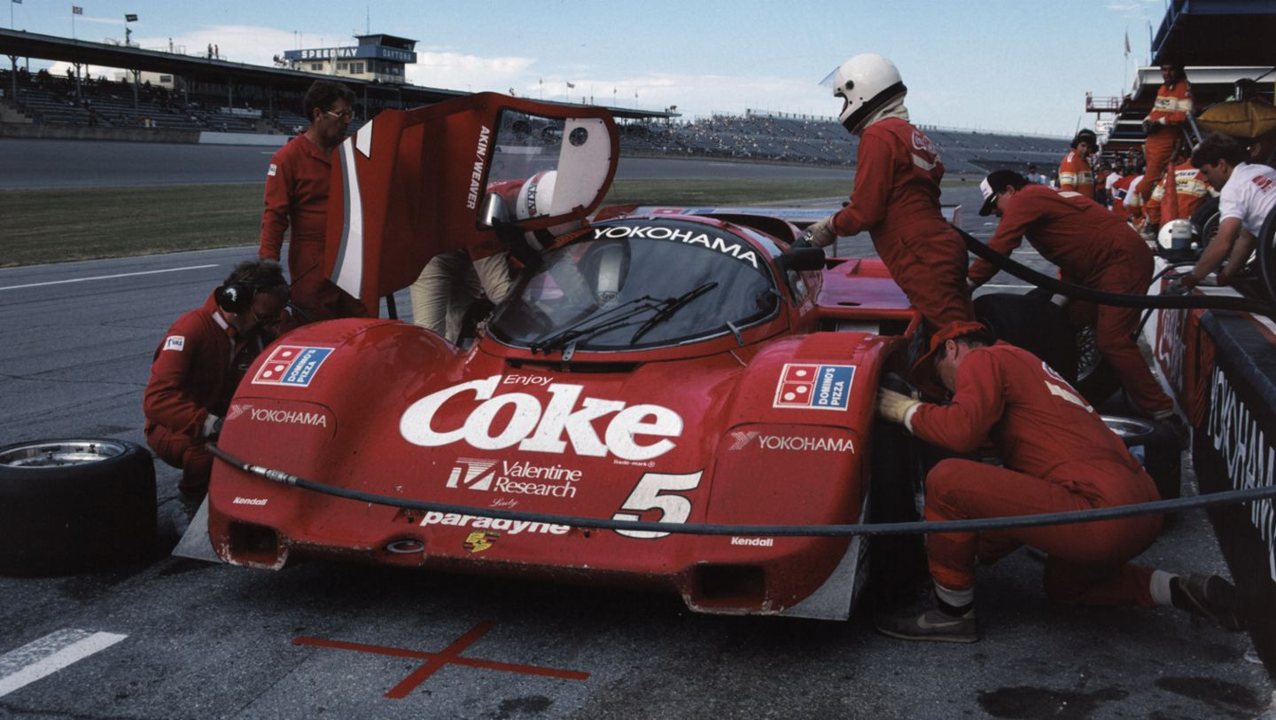 Porsche 962 No. 5: Hans-Joachim Stuck, Bob Akin and Jo Gartner, IMSA, 24 Hours of Daytona, 1986, Porsche AG