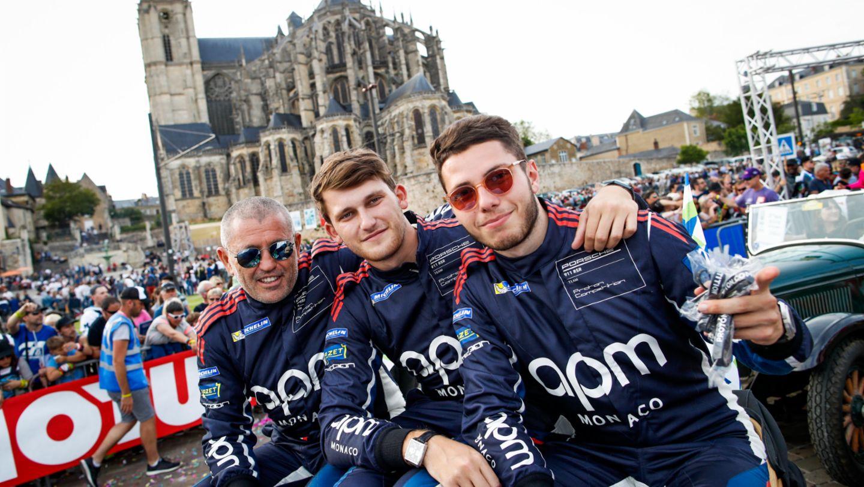 Proton Competition (78), Philippe Prette (I), Louis Prette (I), Vincent Abril (F), l-r, Drivers' parade, FIA WEC, Le Mans, 2019, Porsche AG