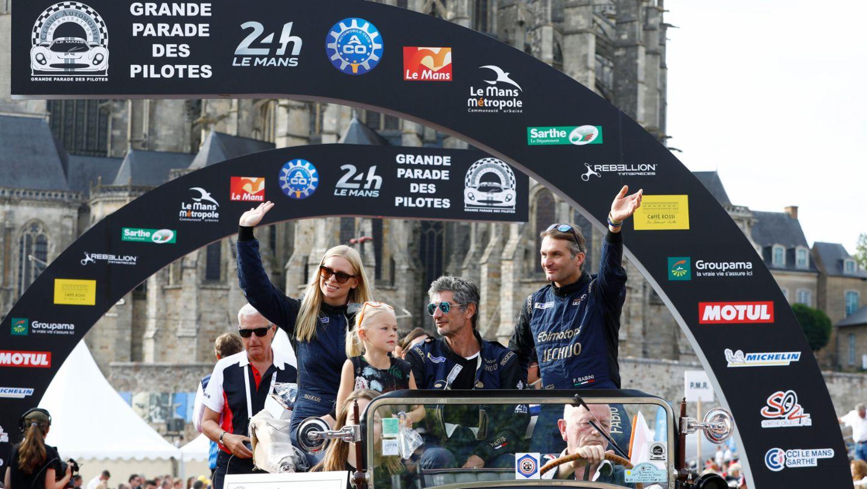 Christina Nielsen, Erik Maris, Fabio Babini, l-r, drivers parade, Le Mans, 2018, Porsche AG