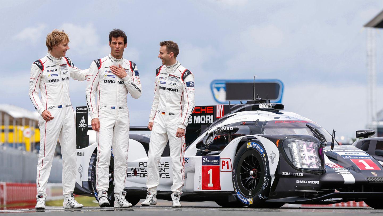 Brendon Hartley, Mark Webber, Timo Bernhard, l-r, Porsche 919 Hybrid, WEC, Le Mans, 2016, Porsche AG