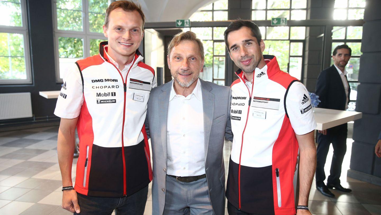 Le Mans-Sieger 2016 Neel Jani (l) und Marc Lieb (r), Richy Müller, Weltpremiere Panamera, Berlin, 2016, Porsche AG
