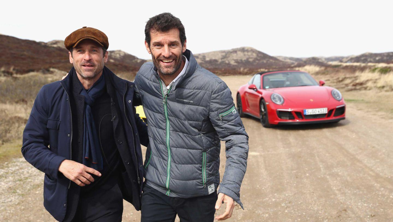 Patrick Dempsey, Mark Webber, l-r, Targa 4 GTS, Grand Opening of Porsche on Sylt, Sylt, Germany, 2017, Porsche AG