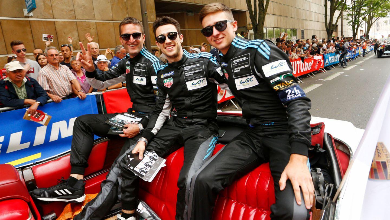 Christian Ried, Julien Andlauer, Matt Campbell, l-r, drivers parade, Le Mans, 2018, Porsche AG