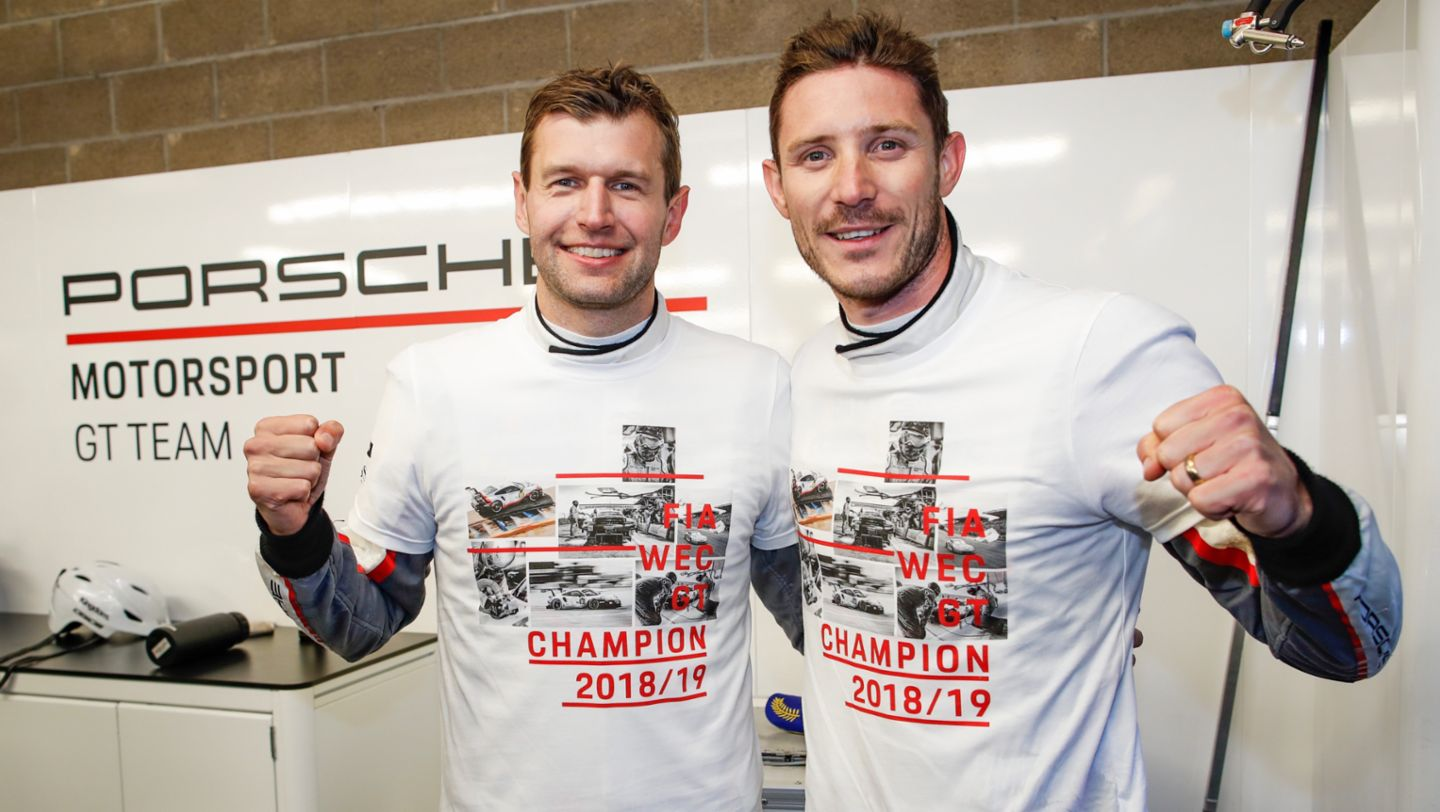 Michael Christensen, Kévin Estre, l-r, World champions of the FIA World Endurance Championship (WEC), 2019, Porsche AG