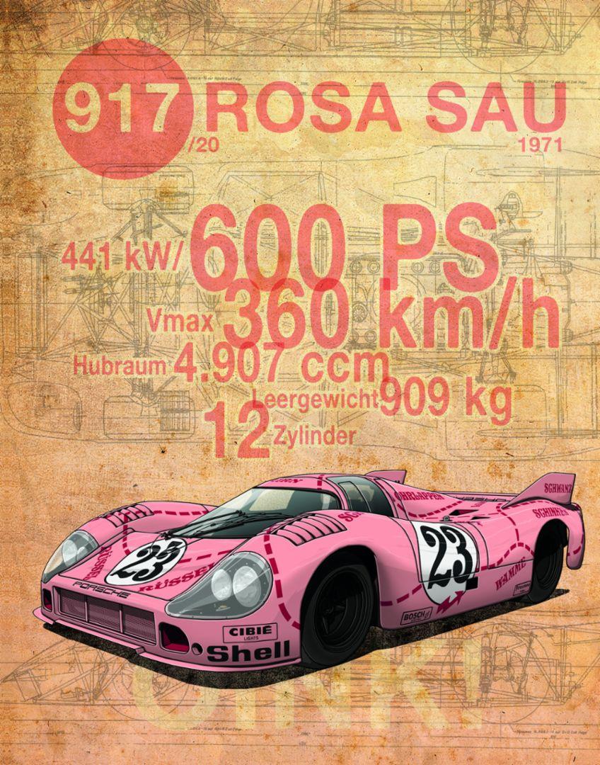 """917 """"Rosa Sau"""", 1971, Porsche AG"""